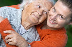 Woman and her granddaughter Stock Photos