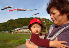 A woman with her grandson on Boy's Day in Japan Stock Image