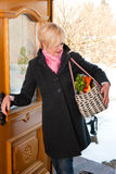 Woman with her groceries Royalty Free Stock Photography