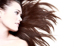 Woman with her hair blowing Stock Image