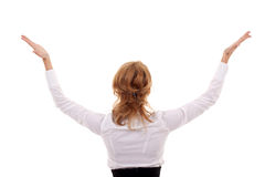 Woman with her hands in the air Royalty Free Stock Photography