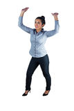 Woman with her hands and arms raised upwards Royalty Free Stock Photos