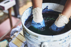 A woman soaking fabric in indigo dye. A woman with her hands in a bucket of indigo dye stock photography