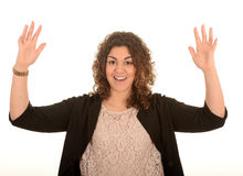 Woman with her hands up Stock Photo