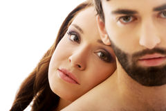 Woman with her head on man's back. Stock Photo
