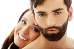 Woman with her head on man's back. Royalty Free Stock Photography