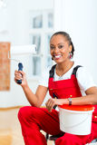 Woman in her home renovating diy Royalty Free Stock Photo