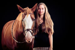 Woman With Her Horse Royalty Free Stock Photo