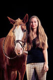 Woman With Her Horse Stock Images
