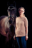 Woman With Her Horse Stock Photography