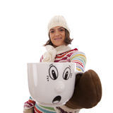 Woman with her hot drink cup Royalty Free Stock Photo