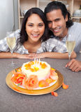 Woman and her husband celebrating her birthday Stock Photos