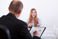 Woman and her interviewer Royalty Free Stock Image
