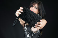 Woman with her Jewelry bag Close up Royalty Free Stock Photos
