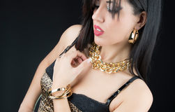 Woman with her Jewelry Close up Stock Images