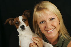 Woman & Her JRT Puppy Royalty Free Stock Photos