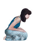 Woman on her kness. Woman on her knees, in a sign of respect Royalty Free Stock Image
