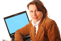 Woman with her laptop Royalty Free Stock Photography
