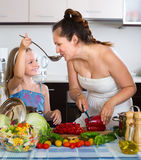 Woman and her little daughter preparing dinner Stock Photography