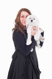 Woman with her little dog Royalty Free Stock Image