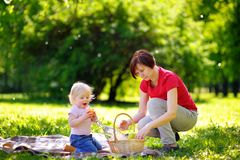 Woman and her little grandson having a picnic in park Royalty Free Stock Image