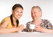 Woman with her mom Stock Photos