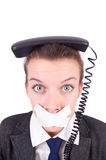 Woman with her mouth sealed isolated Stock Images