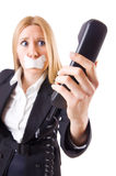 Woman with her mouth sealed isolated Stock Photos