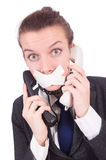 Woman with her mouth sealed isolated Royalty Free Stock Image