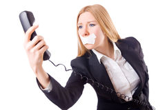 Woman with her mouth sealed isolated Royalty Free Stock Photo