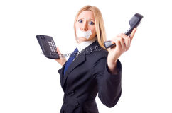Woman with her mouth sealed Royalty Free Stock Photos