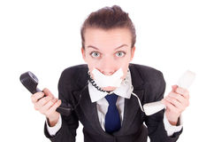 Woman with her mouth sealed Stock Photography