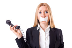 Woman with her mouth sealed Royalty Free Stock Photo