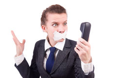 Woman with her mouth sealed Royalty Free Stock Image