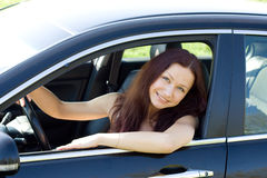 Woman is in her new car Royalty Free Stock Photography