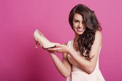 Woman with her new shoe Stock Image