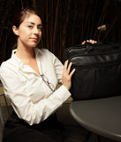 Woman with her notebook bag Stock Image