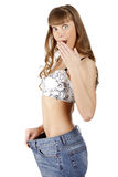 Woman in her old jeans Royalty Free Stock Photography