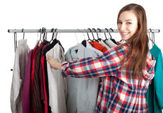 Woman in her own dressing room Royalty Free Stock Photo
