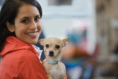Woman with her pet chihuahua Stock Photos