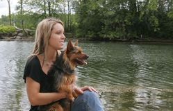 Woman and her pet dog Stock Photo