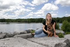 Woman and her pet dog Stock Photography