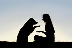 Woman and Her Pet Dog Outside Shaking Hands Silhou. A happy girl is sitting outside in the grass, shaking hands with her German Shepherd dog, silhouetted against Royalty Free Stock Photos