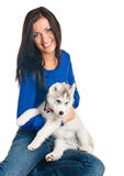 Woman and her pet Stock Photo