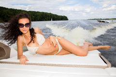 Woman on her private yacht Stock Photography
