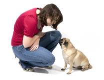 Woman and Her Pug Stock Photo