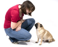 Woman and Her Pug Royalty Free Stock Photos