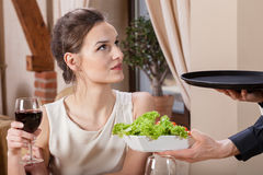 Woman and her ready order Stock Photo