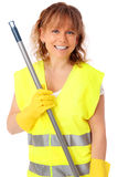 Woman in her 40s cleaning Royalty Free Stock Photography