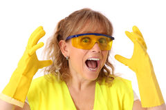 Woman in her 40s wearing a gloves and safety glasses Stock Photography